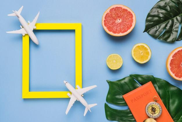 Conceito de viagens com folhas tropicais Foto gratuita