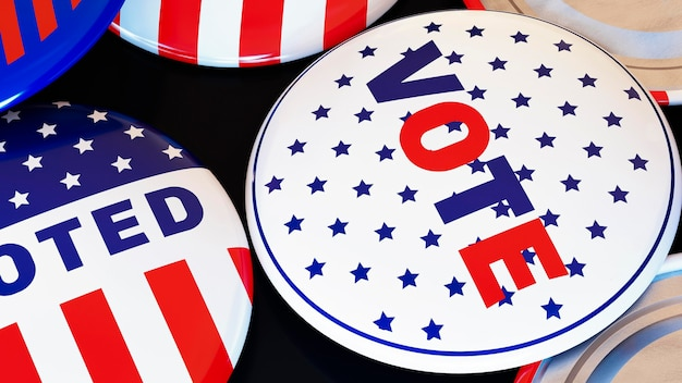 Conceito de voto nas eleições americanas com bandeira Foto gratuita