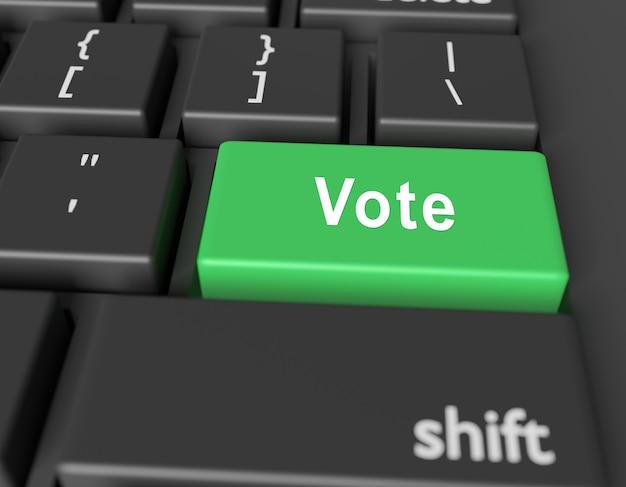 Conceito de voto. votação de palavras no botão do teclado do computador Foto Premium