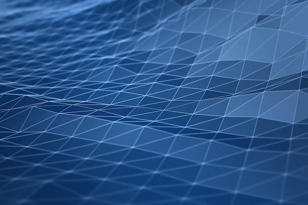 Conceito digital da ilustração da geometria da conexão de dados da montanha da paisagem 3d Foto Premium