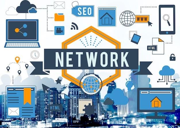 Conceito digital de digitas da conexão a internet da rede Foto gratuita