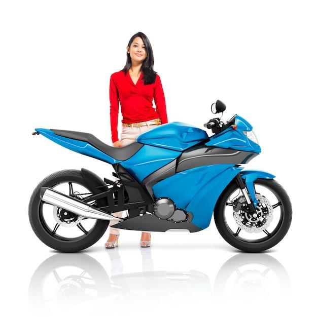 Conceito do transporte do roadster da bicicleta da motocicleta do velomotor Foto Premium