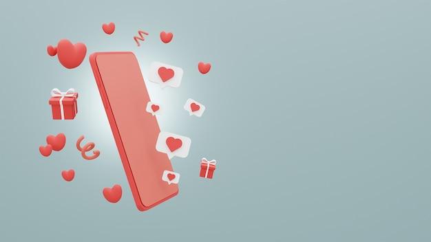 Conceito feliz dia dos namorados de smartphone e caixa de presente com corações sobre fundo azul. renderização 3d Foto Premium