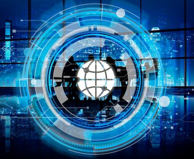 Conceito global da relação azul de digitas hud Foto gratuita