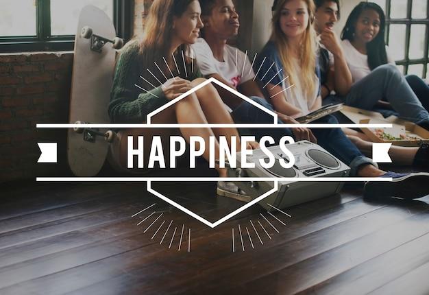 Conceito gráfico de vetor vintage de felicidade Foto gratuita