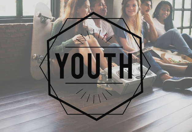 Conceito gráfico do vetor do vintage da juventude Foto gratuita