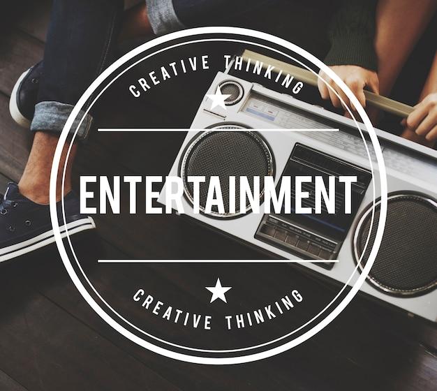 Conceito gráfico do vetor do vintage do entretenimento Foto gratuita