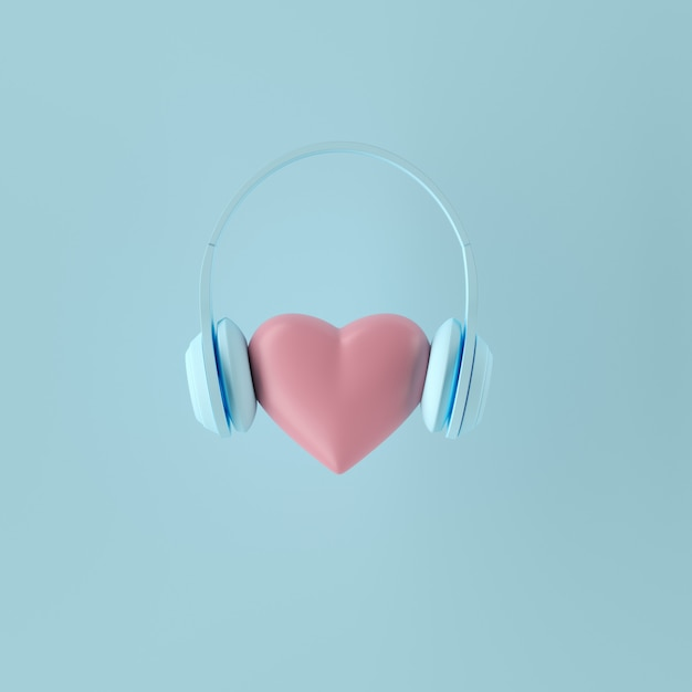 Conceito mínimo. forma cor-de-rosa proeminente do coração da cor com o auscultadores azul no fundo azul. 3d render Foto Premium
