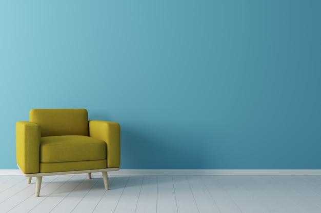 Conceito mínimo. interior da poltrona de tecido amarelo vivo, no piso de madeira e parede azul. Foto Premium