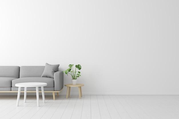 Conceito mínimo. interior do sofá de tela cinza de vida, mesa de madeira no piso de madeira e parede branca. Foto Premium
