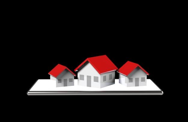 Conceito on-line de crescimento imobiliário. grupo de casa no celular. ilustração 3d. Foto Premium