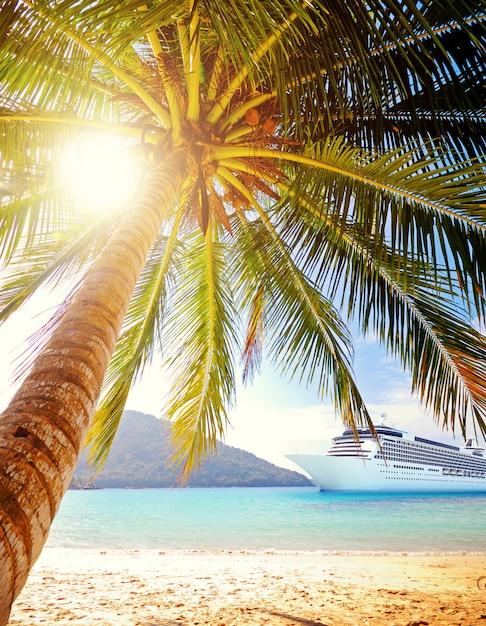 Conceito tropical do navio de cruzeiros da praia da ilha do verão Foto Premium
