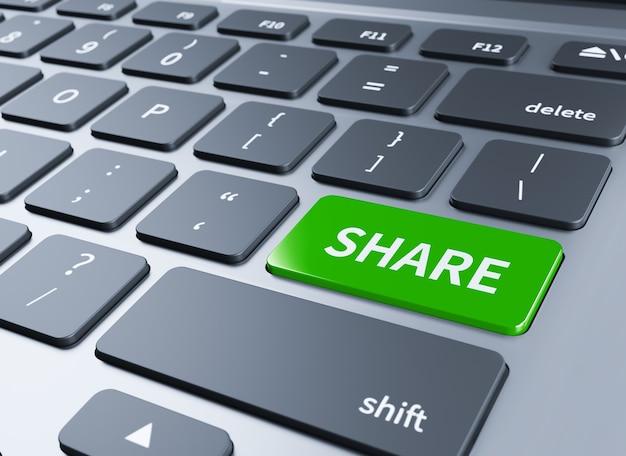 Conceitos de computador, ilustração do botão de compartilhamento. 3d Foto Premium