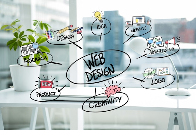 conceitos de design Web com fundo borrado Foto gratuita