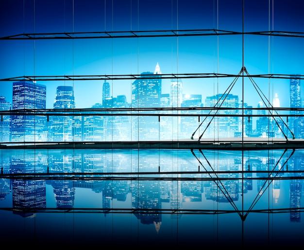 Conceitos do céu claro da arquitectura da cidade da noite Foto gratuita