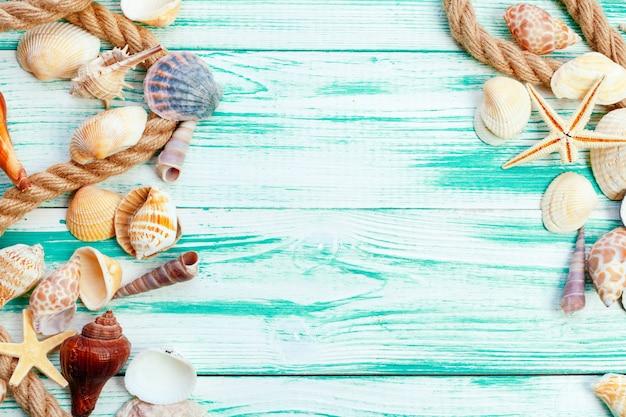 Conchas do mar diferentes na cor de fundo de madeira Foto Premium