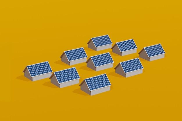 Condomínio com painéis solares no telhado, energia elétrica limpa da célula solar, ilustração 3d. Foto Premium