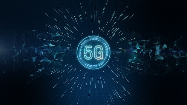 Conectividade 5g de dados digitais e tecnologia de informação futurista conceitual usando inteligência artificial ai Foto Premium