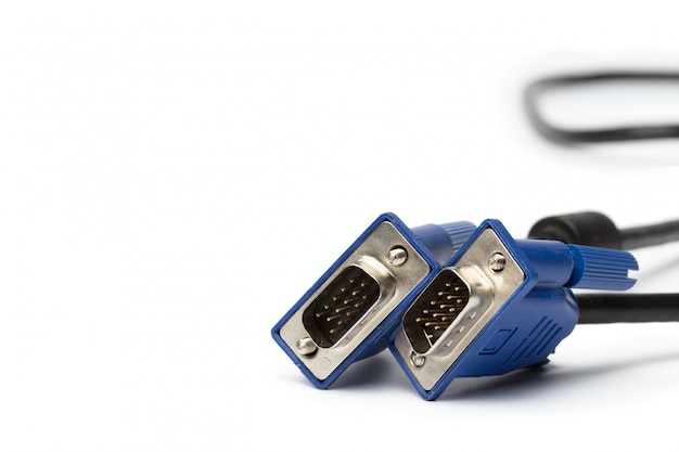 Conector de cabo de entrada de pc de tecnologia vga isolado Foto Premium