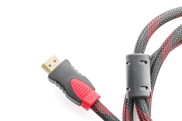 Conector de cabo hdmi e vga em branco Foto Premium