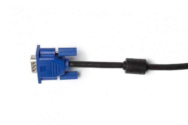 Conector do cabo de entrada do pc da tecnologia de vga isolado no fundo branco Foto Premium