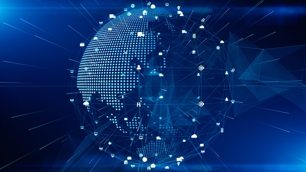 Conexão de dados de rede de tecnologia, rede digital e conceito de segurança cibernética. elemento terra fornecido pela nasa. Foto Premium