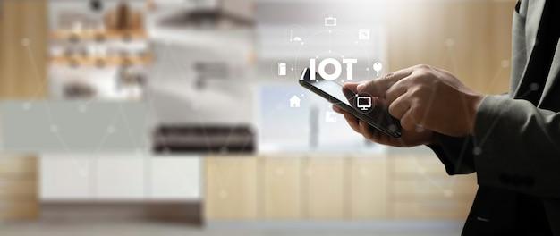 Conexão doméstica inteligente dispositivo técnico doméstico inteligente iot house automation Foto Premium