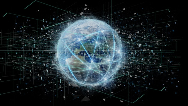 Conexão em torno de um globo do mundo isolado em uma rendição do fundo 3d Foto Premium