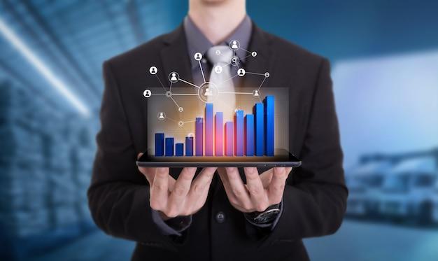 Conexão social e rede para distribuição de mercadorias no processo de depósito Foto Premium