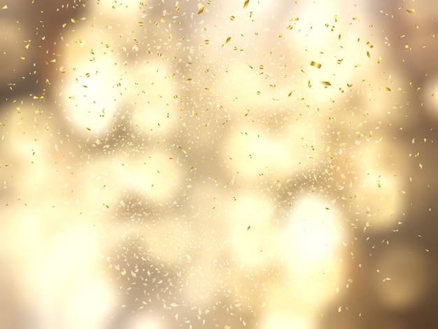 Confete de ouro no fundo de luzes de bokeh Foto gratuita