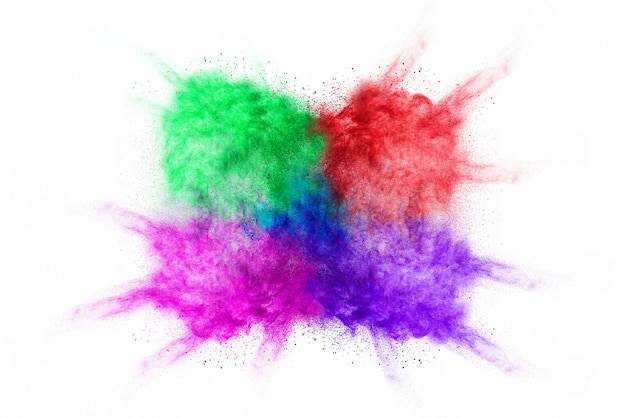 Congele o movimento do pó colorido da cor que explode no fundo branco Foto Premium
