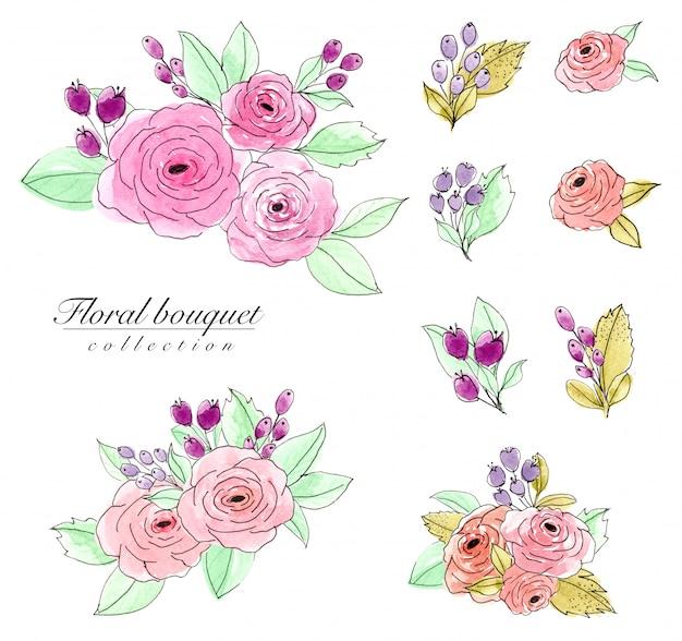 Conjunto de aquarela buquê de flores Foto Premium