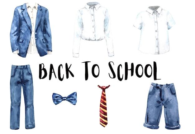 Conjunto de aquarela uniforme escolar. de volta à escola. colégio roupas icolated Foto Premium