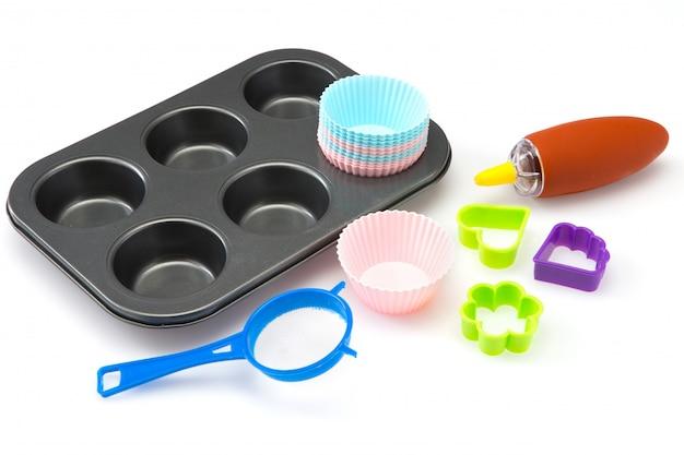 Conjunto de bolinho de ferramentas de padaria e cozinha em branco Foto Premium