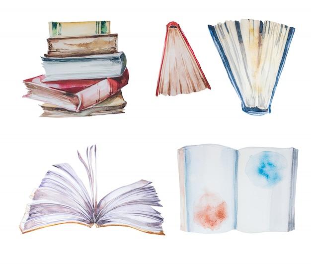Conjunto de clipart de livros em aquarela de pintados à mão. Foto Premium