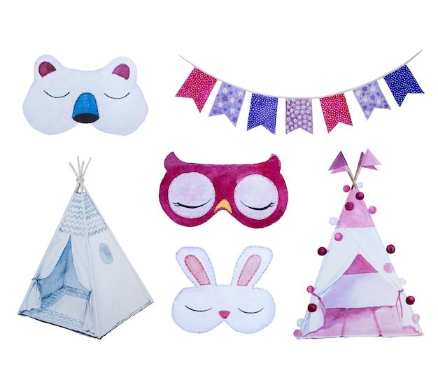Conjunto de clipart de máscara de olho aquarela isolado. spamber festa design ilustração. Foto Premium