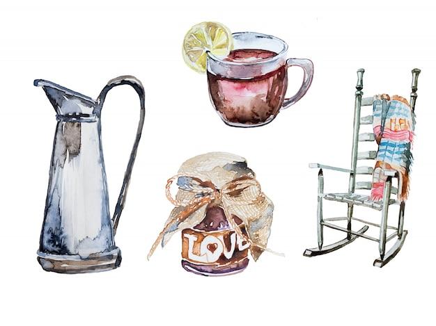 Conjunto de clipart de outono pintado à mão em aquarela. ilustração de uma cadeira com manta, chá quente com limão, geléia caseira Foto Premium