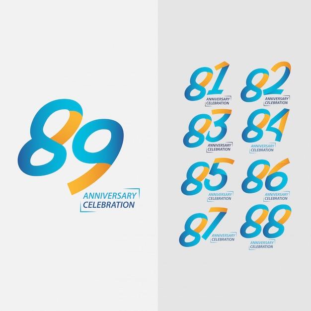 Conjunto de comemoração de aniversário de 89 anos Foto Premium