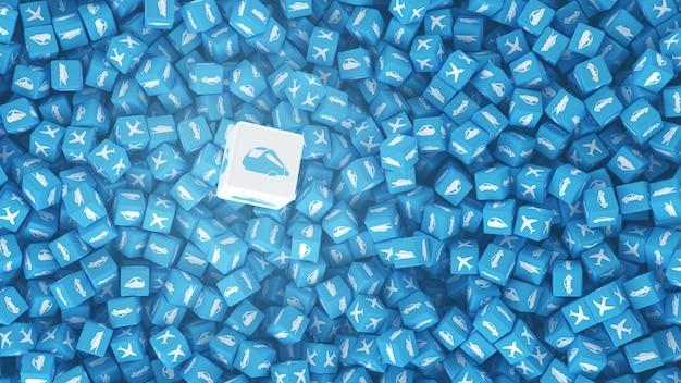 Conjunto de cubos com logotipos de veículos desenhados neles Foto Premium