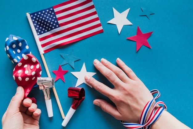 Conjunto de decoração para o dia da independência Foto gratuita