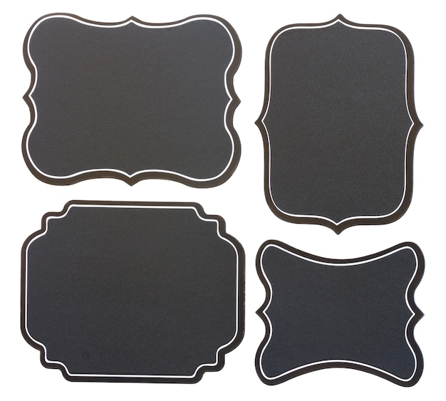 Conjunto de etiquetas vintage de quadro preto em branco isolado no fundo branco Foto Premium