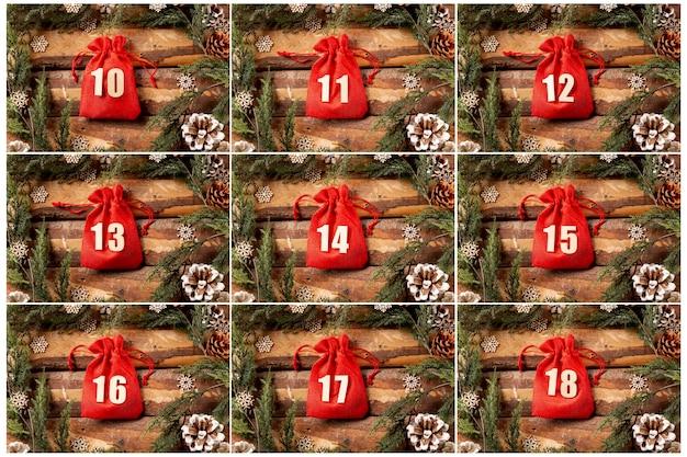 Conjunto de exibição de coleção de calendário do advento Foto gratuita