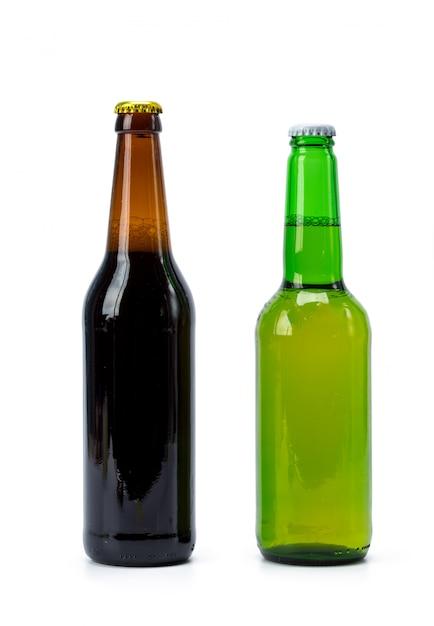 Conjunto de garrafas de cerveja isoladas Foto Premium