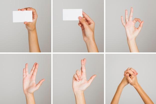 Conjunto de gestos de mão Foto gratuita