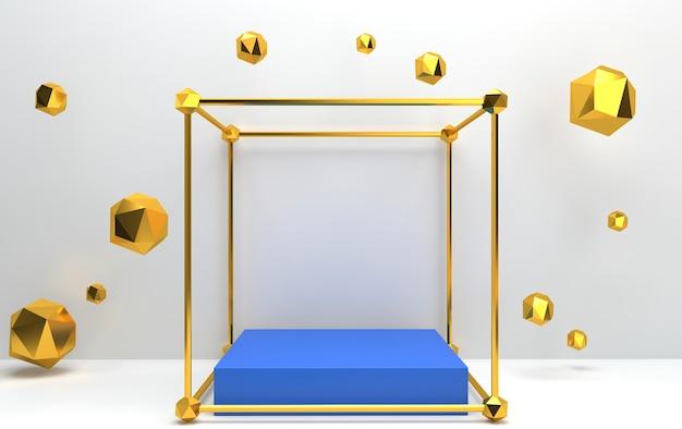 Conjunto de grupos de forma geométrica abstrata, fundo branco, gaiola dourada, renderização em 3d, pedestal retangular dentro do tetraedro dourado Foto Premium