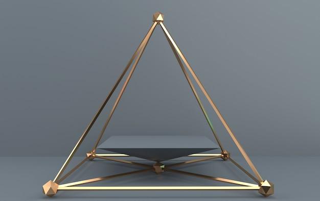 Conjunto de grupos de formas geométricas abstratas, fundo cinza, gaiola dourada, renderização em 3d, cena com formas geométricas, pedestal quadrado dentro da pirâmide dourada Foto Premium