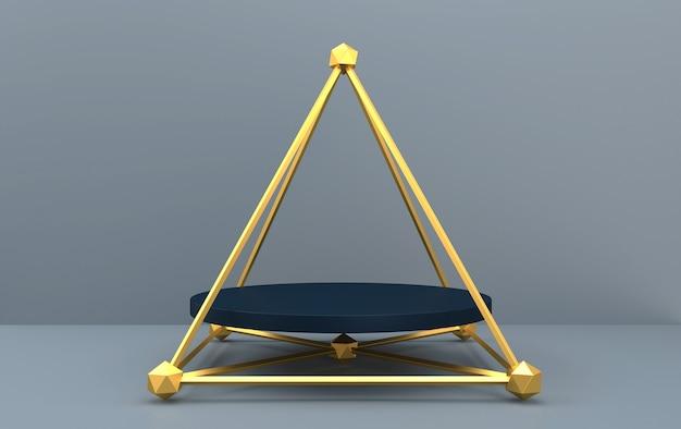 Conjunto de grupos de formas geométricas abstratas, fundo cinza, gaiola dourada, renderização em 3d, cena com formas geométricas, pedestal redondo dentro da pirâmide dourada, cena minimalista da moda Foto Premium