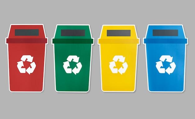 Conjunto de ícones de lixo com o símbolo de reciclagem Foto Premium