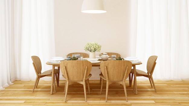 Conjunto de jantar no quarto branco design minimalista - renderização em 3d Foto Premium