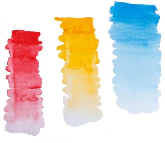 Conjunto de mão pintado traços de pincel de gradiente em aquarela Foto Premium